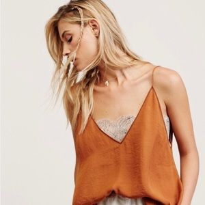 Free People Deep V Lace Bandeau Cami Small